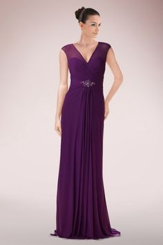 Fetching V-neck Chiffon Column Mother of Bride Dress Highlighted with Beaded Accents and Keyhole Back