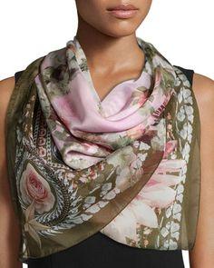 Givenchy Floral-Printed Silk Scarf, Pink/Khaki