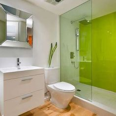 Lime Green Not sold on committing to four full walls of a powerful color like lime? Consider painting just one accent wall in the room—or even in the shower. This energetic look was created by back-painting glass.