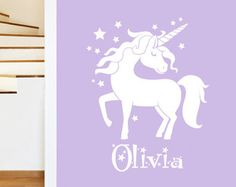 - Magical Unicorn Girls Wall Sticker - Childrens Fairytale Animal Art Vinyl Decal Transfer - by Rubybloom Designs Sticker sizes: x x Stickers come laid out as shown in the image sandwiched between 2 backing papers which you then transfer to the wall Girls Wall Stickers, Removable Wall Stickers, Wall Decals, Unicorn Wall Art, Unicorn Bedroom, Magical Unicorn, Vinyl Crafts, Girl Rooms, Girls Bedroom