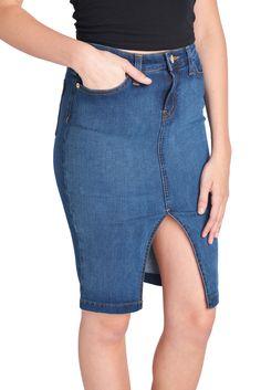 Parkers Jeans Front Slit Skirt D1048 knit denim skirt  #skirt #frontslit #knitdenim #parkersjeans #slit #d1048 #parkers #jeans