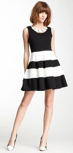 Striped A-Line Dress.  Got this dress.  It was adorable.  Handwashed it and the black bled onto the white :(