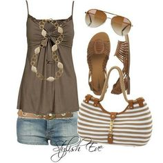 Cute and casual. Cute Summer Outfits, Summer Wear, Spring Summer Fashion, Casual Outfits, Cute Outfits, Summer Clothes, Summer Time, Beach Clothes, Beach Outfits