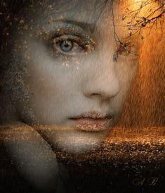 tutto glitter: donna sotto la pioggia