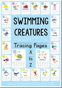 Swimming Creatures Alphabet Tracing Pages A to Z