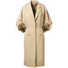 Givenchy Beige Barathea Coat (11.260 BRL) ❤ liked on Polyvore featuring outerwear, coats, givenchy, beige coat, wool coat, brown wool coat and oversized coat