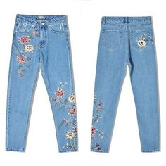 Gloria Embroidery Floral Jeans ($32) ❤ liked on Polyvore featuring jeans, checkered jeans, blue jeans, floral jeans, embroidered jeans and floral print jeans