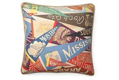 Pennant Flag 20x20 Cotton Pillow, Multi on OneKingsLane.com