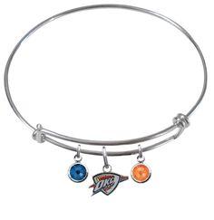 Oklahoma City Thunder NBA Expandable Wire Bangle Charm Bracelet