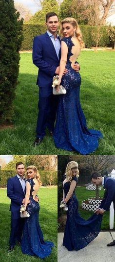 Prom Dress,Custom Made Charming Royal Blue Lace mermaid