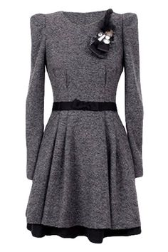 Cute cold weather dress. Shrugged Long Sleeves Black Dress