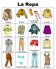 FREE Spanish clothing vocabulary in picture form. Really great to help your visual learners really learn the language! - check more on my website Spanish Grammar, Spanish Vocabulary, Spanish 1, Spanish Words, Spanish Language Learning, Spanish Teacher, Spanish Classroom, Spanish Lessons, Teaching Spanish