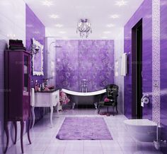 90 Best Purple Bathrooms Images In 2020