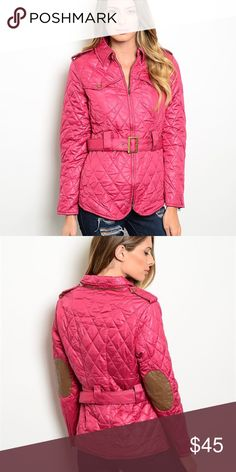 NWT! Pink quilted jacket with faux leather patches He cutest equestrian style jacket perfect for the fall! Belt cinches and elbow patches add a nice touch. Jackets & Coats Puffers