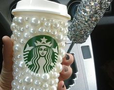 Pearl cup. Travel cup. Glitter cup. Glitter Starbucks cup. Rhinestone to go cup.
