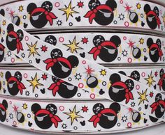5 Yards 7/8 Pirate Mickey Mouse Grosgrain Ribbon by Momswholesale, $5.99