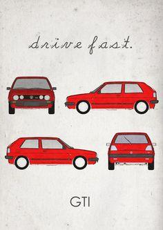 Drive Fast. GTI. Wall Art. Car Graphic. Digital Print. by jbFARM