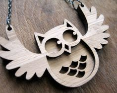Laser cut timber owl necklace