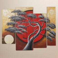 World Menagerie Crimson Sun Midnight Moon 4 Piece Framed Original Painting on Wrapped Canvas Set