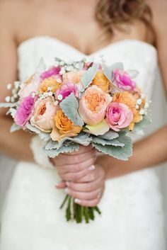 bridal bouquet - roses - dusty miller - gypsophila - babys breath - david austin rose - pink - orange - apricot - coral - bright