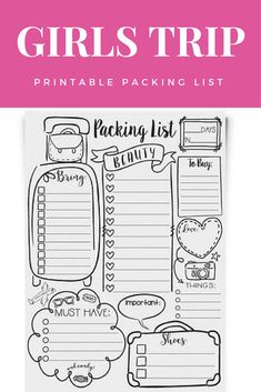 DOODLE Travel Packing List | PRINTABLE Full Page Checklist | Edit Your Own PDF File | Custom Trip Planner | Girls Road Trip Weekend Vacay #packinglist #ad #girlstrip #travelpacking