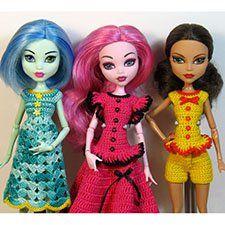 Хочу сегодня показать вам наряды, в которые я одеваю своих монстриков, кукол Monster High. Вяжу крючком из 100% мерсеризованного хлопка: