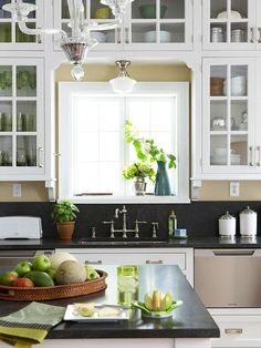 Think about how and where you use kitchen items. Store breakfast foods and bowls near the breakfast table. Keep wraps and plastic containers in one handy spot near a work surface for wrapping leftovers. Locate dishware and flatware near the dishwasher to ease the process of unloading.