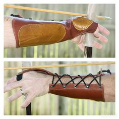 M/LG Leather Arm Guard & Bow Hand Shooting Glove, Left Hand, Medium to Large, Steampunk