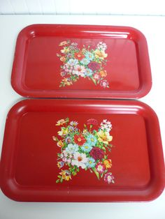 Two Vintage Metal Trays