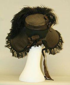 Black American or European bonnet (Back), 1824. Silk, feathers.