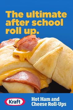 Somehow, they always come home hungry. These cheesy ham roll ups have everything they're looking for in an afterschool snack. collection ad inspiration about dinner recipes Easy Dinner Recipes, Snack Recipes, Easy Meals, Cooking Recipes, Dinner Ideas, Breakfast Recipes, Vegan Recipes, Dessert Recipes, Desserts