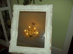 23x18 French Country, French farmhouse distressed shabby Baroque wood framed Mirror. $68.00, via Etsy.