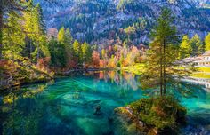 Blausee is fairytale Lakes of Bernese Oberland, Switzerland I Love The World, Out Of This World, Beautiful World, Beautiful Places, Beautiful Nature Wallpaper, Natural Park, Morning Light, Romantic Travel, Natural Wonders