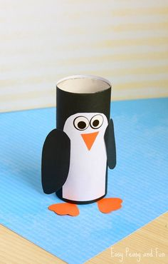 Paper Roll Penguin Craft! If you are doing an penguin or zoo unit this is a cute craft for wintertime fun! #penguincrafts #artsandcraftsforkids #animalactivities