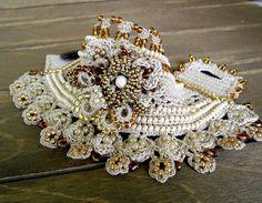 Pulsera brazalete en Color Beige con flores joyas de Crochet