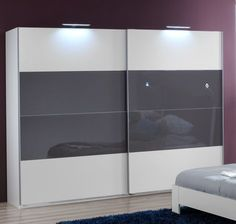 SlumberHaus German Eleganz White & Grey Glass Sliding Door Wardrobe in Home Furniture & DIY Furniture Wardrobes Bedroom Cupboard Designs, Bedroom Wardrobe, Closet Bedroom, Wardrobe Sale, Sliding Mirror, Bedroom Furniture, Modern Sliding Doors, Barn Interior, Sliding Door Wardrobe Designs