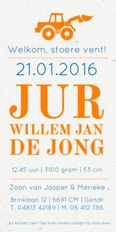 Geboortekaartje graafmachine   birth announcement   typografie en letterpress stijl. www.meisenmanneke.nl