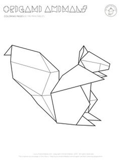 You won't find anything cuter than this adorable Origami Squirrel Coloring Page. This free coloring page features an elegant squirrel design modeled after the art of origami. Geometric Drawing, Geometric Art, Animal Coloring Pages, Free Coloring Pages, Origami Lamps, Squirrel Coloring Page, Washi Tape Wall, Origami Boat, Tape Art