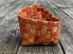 Plaited birch bark utensil handwoven box practical by BirchBirds