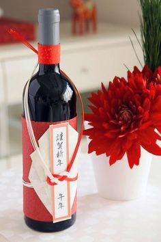 新春用・ワインを和風に飾る和紙飾り pretty Asian inspired wine wrap PD