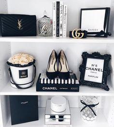 shelf styling – [pin_pinter_full_name] shelf styling shelf styling Chanel Bedroom, Glam Bedroom, Room Ideas Bedroom, Bedroom Decor, Chanel Dekor, Chanel Decoration, Beauty Room, Dream Rooms, My New Room