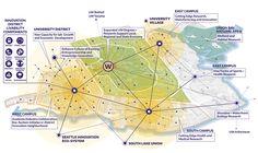 University of Washington Campus Master Plan and Innovation District Framework – Sasaki Tourism Development, Physical Development, City Layout, Strategic Goals, Urban Analysis, Public Realm, Green Street, Site Plans, Concept Diagram