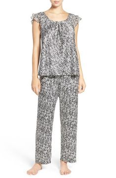 Oscar de la Renta Sleepwear Ruffled Satin Pajamas available at  Nordstrom  Chiffon Ruffle 05b70f378