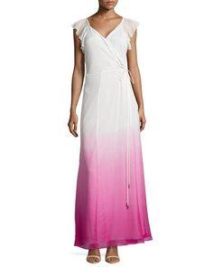 TAEUN Diane von Furstenberg Delancey Ombre Wrap Maxi Dress