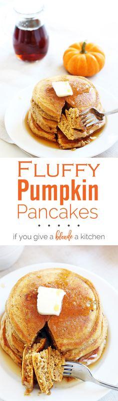Fluffy pumpkin pancakes taste like clouds of pumpkin pie! International Delight Pumpkin Pie Spice Coffee Creamer is the secret! | www.ifyougiveablondeakitchen.com