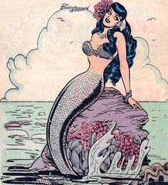 """""""Katy Keene in Suzie Comics can find Vintage mermaid and more on our website.""""Katy Keene in Suzie Comics Fantasy Creatures, Mythical Creatures, Sea Creatures, Vintage Comics, Vintage Art, Tattoos Mandala, Xoil Tattoos, Octopus Tattoos, Geometric Tattoos"""