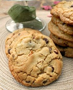 Homemade Bakery Style Chocolate Chip and Pecan Cookies that are big, thick, soft and chewy!