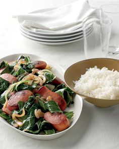 Bratwurst with Collards and Rice: smoky sausages and greens brightened with a splash of vinegar. Rice Recipes, Lunch Recipes, Healthy Dinner Recipes, Cooking Recipes, Budget Recipes, Lunch Foods, Uk Recipes, German Recipes, Meal Recipes