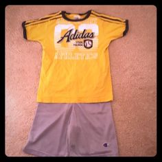 Shop Kids' Yellow Gray size 5B Shorts at a discounted price at Poshmark. Description: Shirt is a 6T, but runs small. Shorts are 5T. Play in the dirt, roll in the grass, whatever your little guy wants to do in these threads. Tiny stain on shorts. Shirt is shabby chic! 😉. Sold by cokenpizza34. Fast delivery, full service customer support.