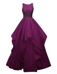Dresstells Organza Bodenlang Abendkleider Abiballkleider Cocktail-Kleider Grape Größe 34